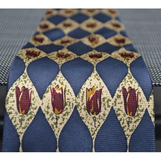 Tie silk blue vintage tulip bordeaux