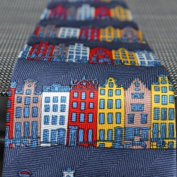 TIE SILK BLUE CANAL HOUSES COLOR