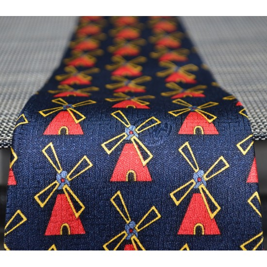 TIE SILK BLUE WINDMILL RED