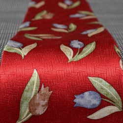 TIE SILK WARM RED DECO TULIPS BLUE BROWN