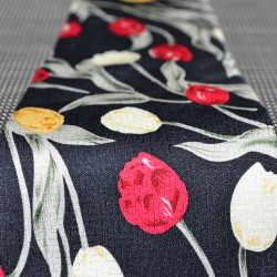 TIE SILK BLACK TULIPS RED YELLOW