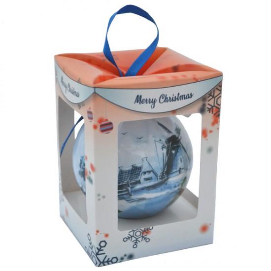 Weihnachtskugel delfter mühlenlandschaft geschenkbox