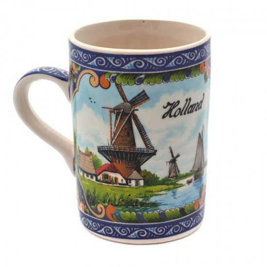 Mug delft polychrome print various windmils