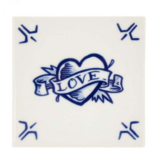 Delfts blauw Tegel Love Royal Delft Schiffmacher Royal Blue Tattoo