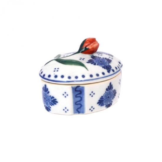 Sieradendoosje Delfts blauw ovaal tulp