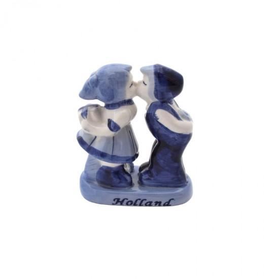 Kussend paar Delfts blauw Holland kado medium 9cm