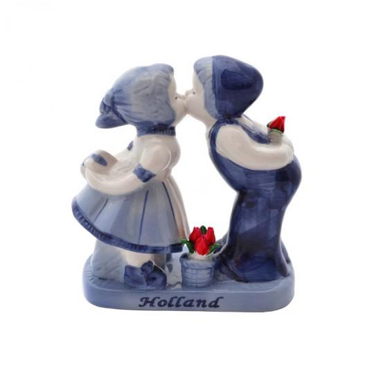 Kussend paar Delfts blauw tulpen Holland kado 12cm