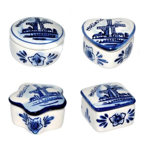 Sieradendoosjes delfts blauw molen holland set 4-stuks