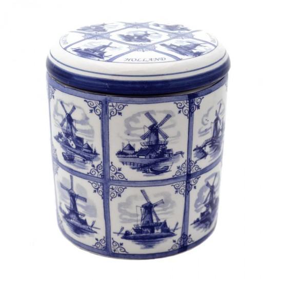 Stroopwafelpot molens tegels Delfts blauw