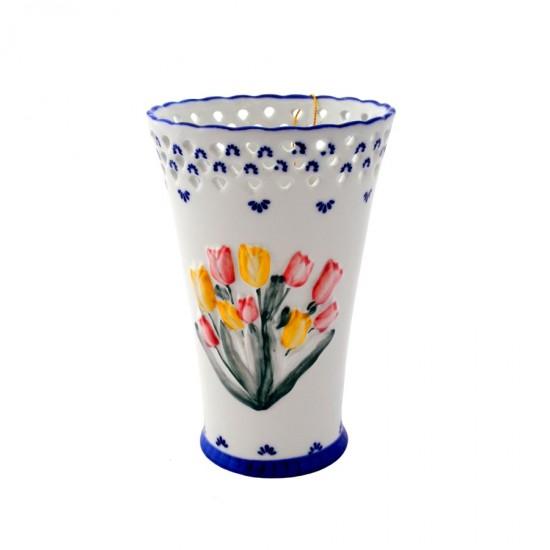 Vaas tulpen Delfts blauw opengewerkte top