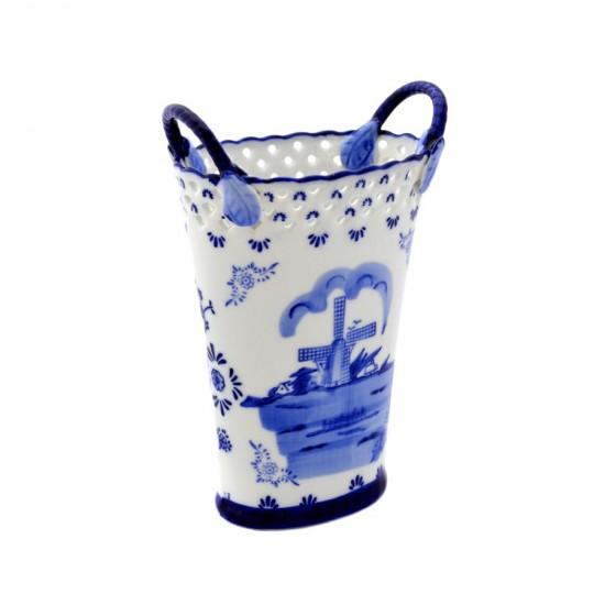 Vaas mand molen Delfts blauw opengewerkte top