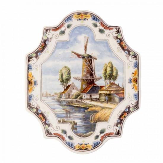 Royal Delft Wandteller Applikation Windmühle polychrom vertikal