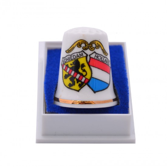 Ceramic thimble with the coat of arms of schiedam