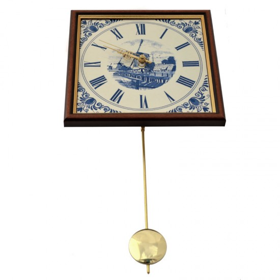 TILE CLOCK DELFT BLUE