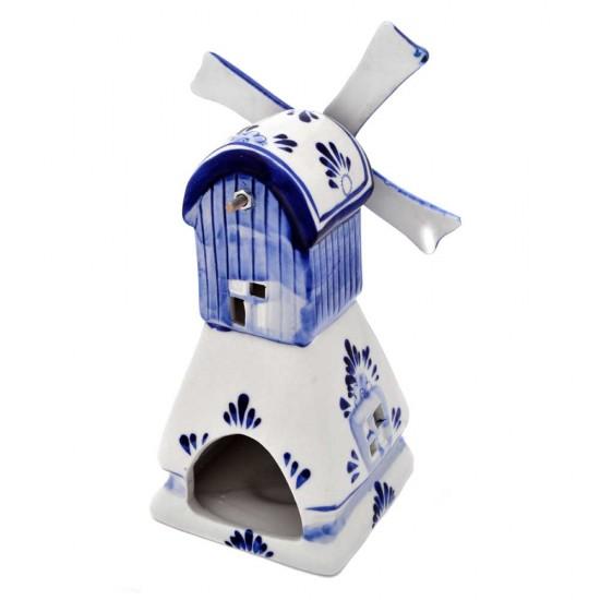 Waxine molen delfts blauw vierkante voet