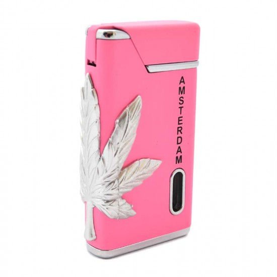 TORCH LIGHTER AMSTERDAM CANNABIS WEED PINK WITH GREEN LIGHT