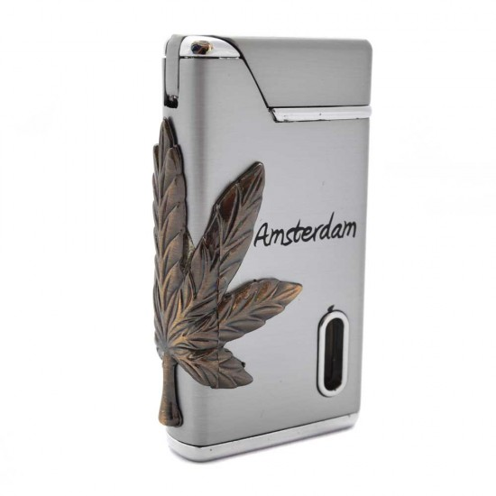 Torch lighter amsterdam cannabis weed silver with green light
