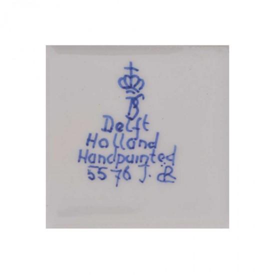 Sieradendoosje delfts blauw bloem vierkant handgeschilderd