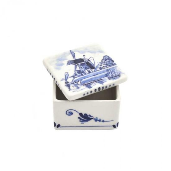 Sieradendoosje delfts blauw molen vierkant handgeschilderd