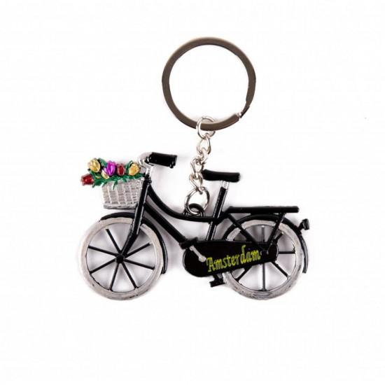 Sleutelhanger Amsterdam fiets mand tulpen