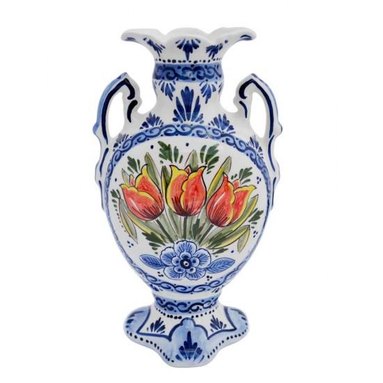 Vase mit Ohren Delfter Blau polychrom handbemalt