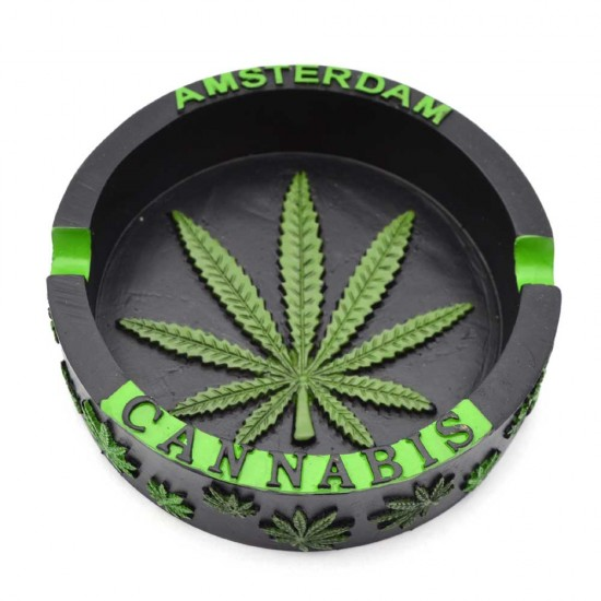 Ashtray amsterdam with cannabis items in 3d