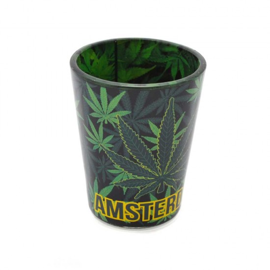 Shot glass amsterdam with cannabis decoration