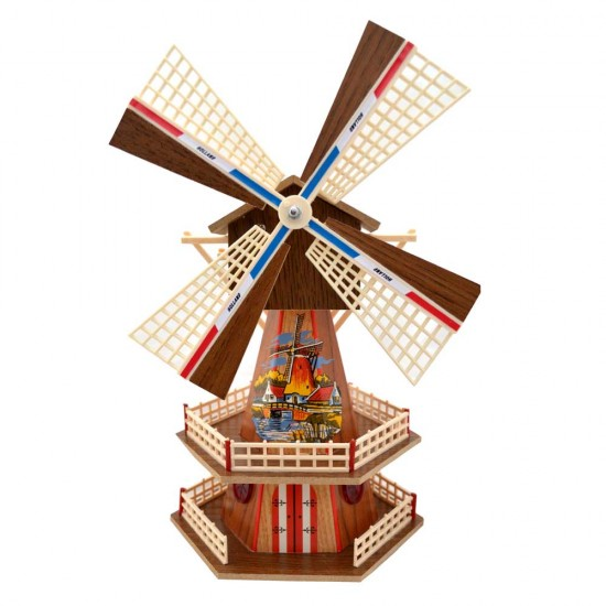 WOODEN DUTCH WINDMILL WITH MUSIC AND LIGHT BROWN