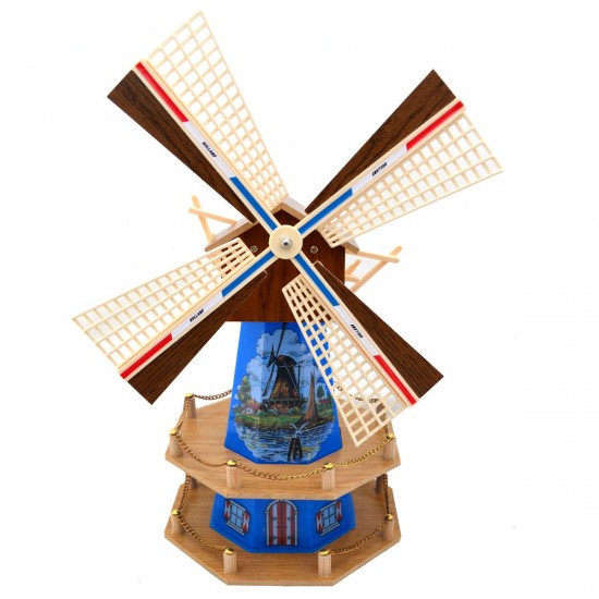 WOODEN DUTCH WINDMILL WITH LIGHT AND MUSIC BLUE