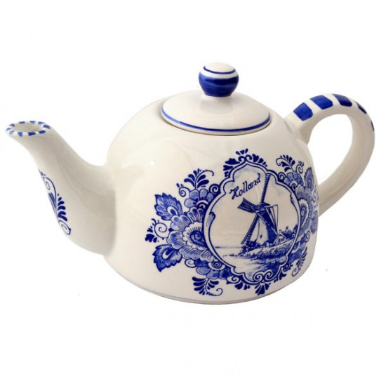Coffee / teapot delft blue flower mill