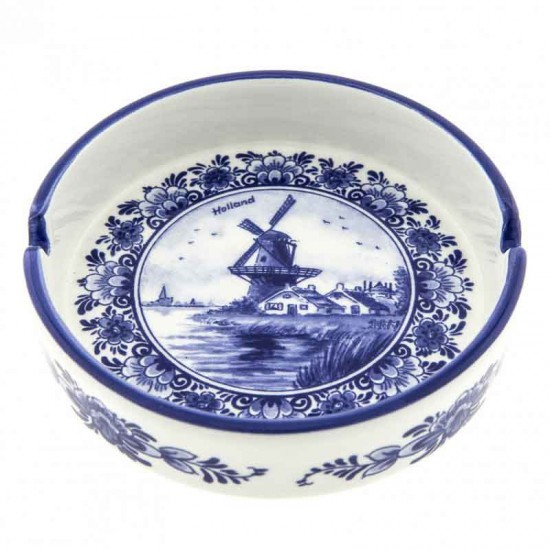 Ashtray Delft blue windmill Holland round