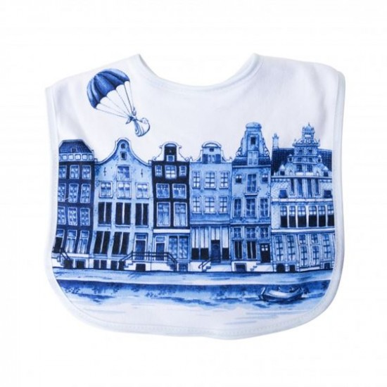 Baby slabbetje delfts blauw grachtenhuisjes amsterdam