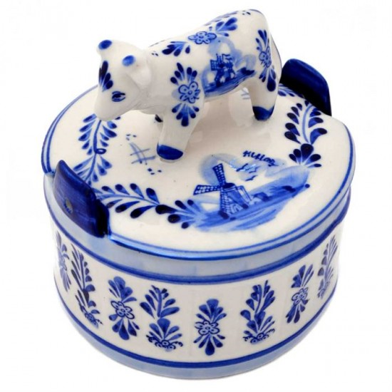 Delft blue butter dish windmill cow holland round