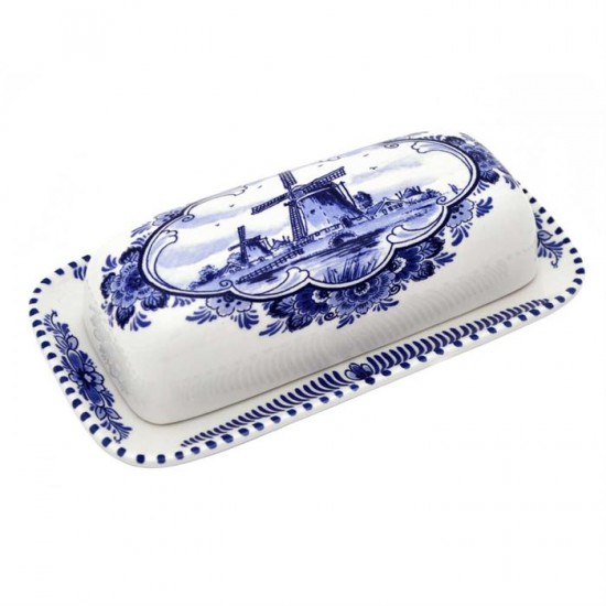 Delft blue butter dish windmills traditional