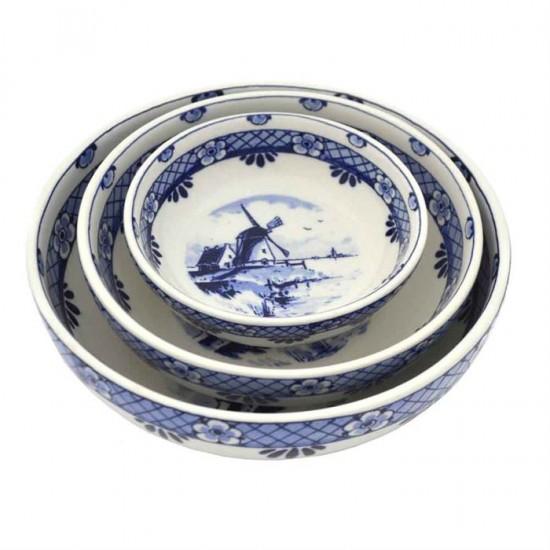 Set delft blue tapas bowls windmil landscape