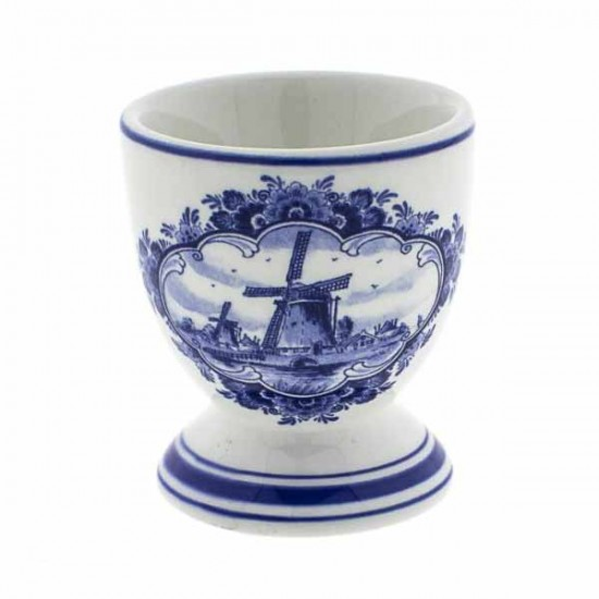 Eggcup delft blue windmill landscape on foot