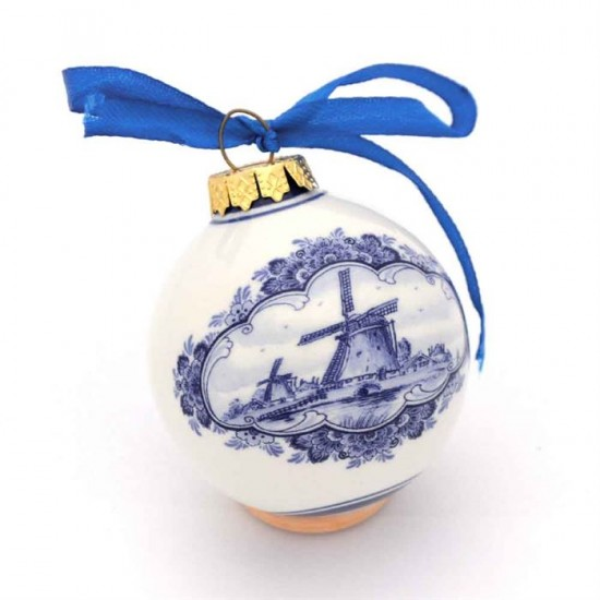 Delft blue Christmas ball with windmill and tulips