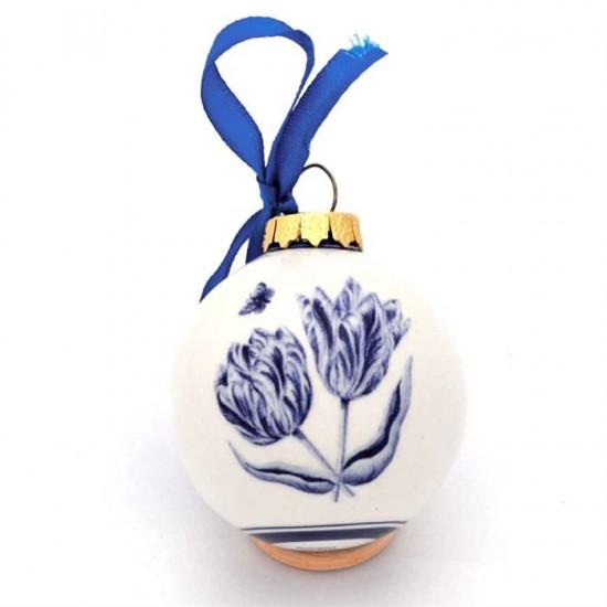 Delfter blau Weihnachtskugel mit Winmühlen und Tulpen