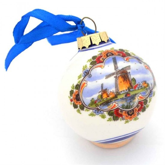 Colored delft blue christmas ball with windmill and tulips