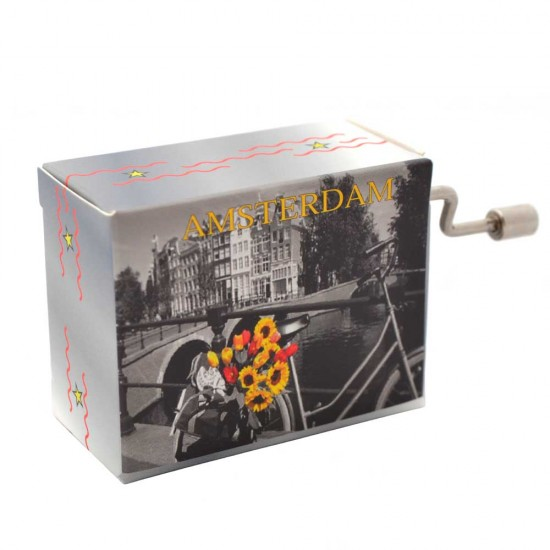 Music box with an image of a bicycle with sunflowers and tulips in color