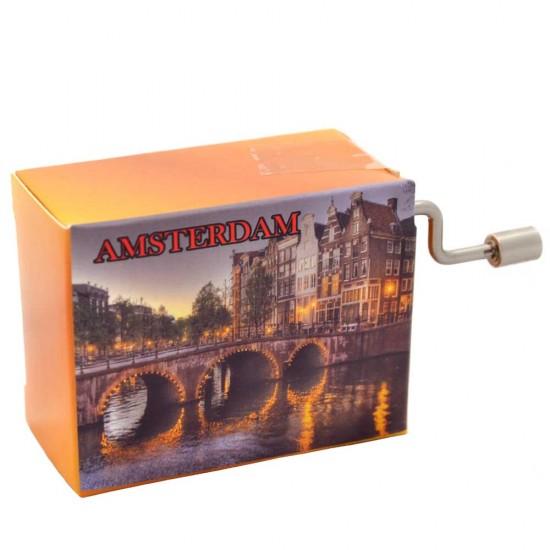 Spieluhr mit einem Bild von Amsterdamer Kanälen bei Nacht