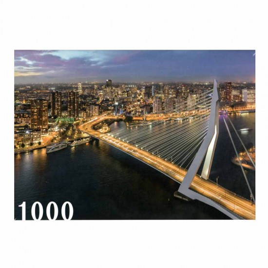 Jigsaw puzzle with a beautiful image of the erasmus bridge in rotterdam
