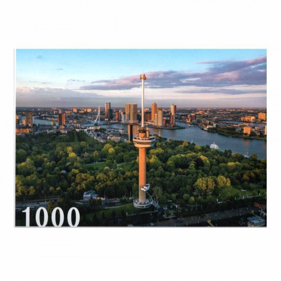 Jigsaw puzzle with a beautiful image of the euro tower in rotterdam