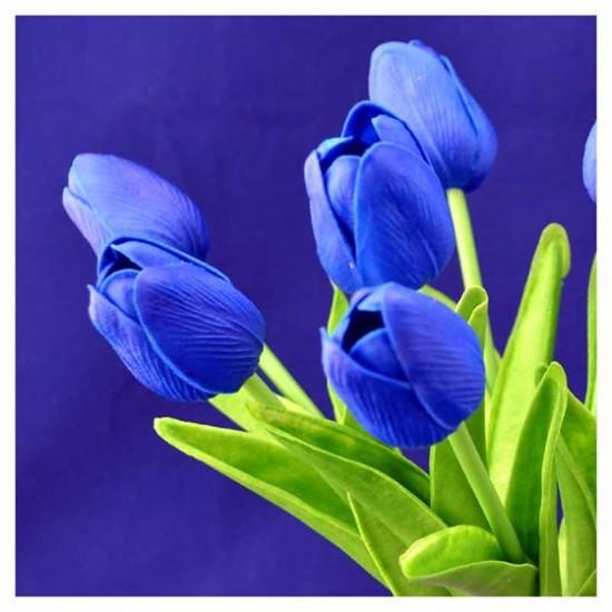 Bosje kunst tulpen blauw 34 cm hoog