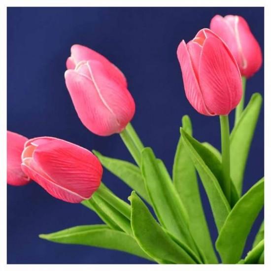 Bosje kunst tulpen donker roze 34 cm