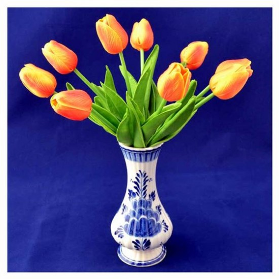 Bunch artificial tulips orange real touch bouquet