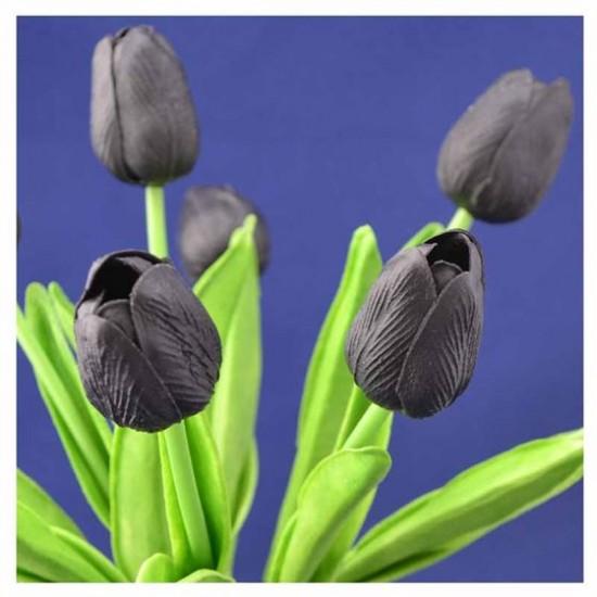 Bosje kunst tulpen zwart 34 cm hoog