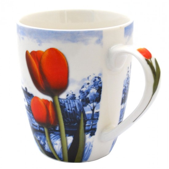 Mug mill delft blue tulips orange red