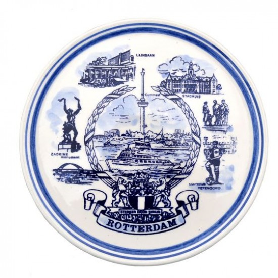 Wall plate Delft blue Rotterdam symbols