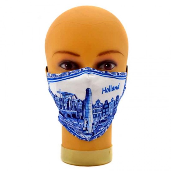 Adjustable face mask delft blue holland canals